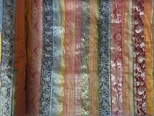 Indian Silk Sari Patchwork Bedspread Twin Handmade Bed Cover Vintage Throw