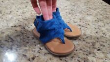 Baby Girl Blue Sandal~SIZE 5~Thong Ankle Strap~Velcro Closure~Shoe