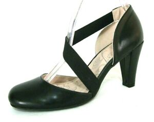 Mootsie Tootsie Shoes Sz 6 Mary Jane Pump Black Elastic Stretch Straps NWOB