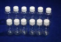 Clear Plastic 1 OZ or 2 OZ PET Empty Bottles Refillable with ribbed lid-HOT BUY!