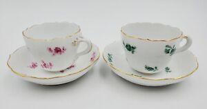 Set of (2) Meissen Germany Porcelain Green & Pink Floral Demitasse Cup & Saucers