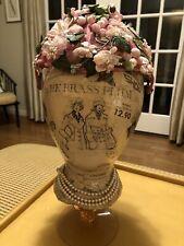 Vintage 1940's 1950's Pink Floral Spring Hat with Sheer Net