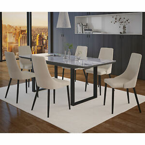 Daphne Nathan MDF Glass Table Top 7pc Dining Set with 6 Chairs in Black /Beige