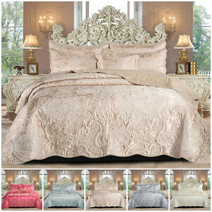 3 Piece Jacquard Quilted Bedspread Satin Bed Throw Decorative Comforter Set