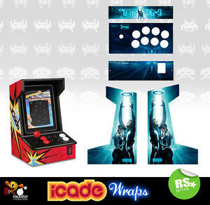 Icade Tron Full Set Graphics Arcade Artwork Sticker / Sides Marquee & Panels