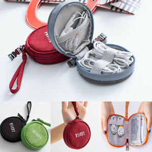 Portable Travel Earphone USB Data Charger Cable Organizer Storage Pouch Bag C2UK