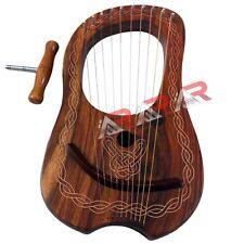 AAR Rose Wood Lyre Harp 10 Metal Strings and Free Carring Bag & Tuning Key