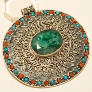 Gigantic African Emerald Coral Turquoise Pendant 925 Sterling Silver Antique New