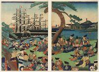 H. Sadanobu I (1809-1879): Kaiserin Jingûs Anfgriff, Farbholzschnitt