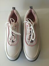 Womens size 9 1/2 Foot Joy Green Joys Golf Shoes soft cleats pink white leather