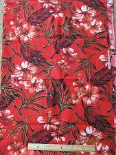 Vintage Gordon Hawaiian Fabrics Hawaii Red, Gold Cotton Tropical Flowers 3 Yards
