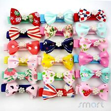 20pcs Assorted Toddler Girl Baby Hair Clips Snaps Ribbon Bow Pearl Handmade 4CM