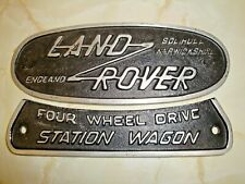 """Land Rover - Nameplate in Cast Aluminium - """" Station Wagon """" -"""" Solihull """""""