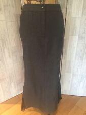 Mariella Rosati Grey Denim Full Length Pencil Wiggle Skirt With Split Frill Sz14