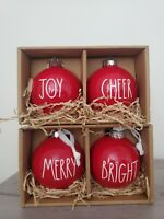 NEW Rae Dunn MERRY BRIGHT JOY CHEER Red Christmas Ornaments Holiday Home Decor