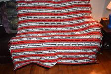 Handmade Crochet Blanket Throw Afghan -88 x5 78 Red Black White Gray