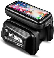 """Bike Bag with Phone Holder Hard Shell Touch Screen Bicycle Front Top Tube 6"""" BLK"""