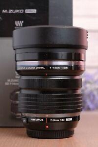 Olympus M.Zuiko Digital ED 7-14mm f/2.8 Pro Asph. Lens with Caps, Hood and Box