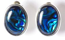 Josephine Oval Blue Abalone Silver Plate Clip On Earrings - Made in UK