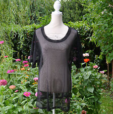 TOP tunique Femme Grande Taille 50 52 résille filet noir DITA ZAZA2CATS new