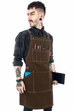 Work Apron - Brown Professional Twill, Leather Trim, CrossBack, Chef, Bartender,