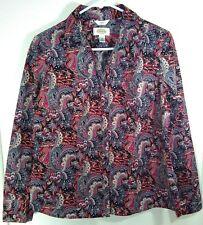 Talbots Career Button Up Shirt Long Sleeve M 8/10 Christmas Santa & Reindeer