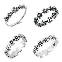 Sterling Silver 925 PRETTY FLOWER SILVER RINGS SIZES 4-10