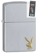 Zippo 29603 Playboy Bunny Logo Satin Chrome Finish Lighter + FLINT PACK