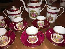 Limoges Teapot, Creamer, Sugar Bowl w/ 6 Demitasse Cups & Saucers-Trim Real Gold