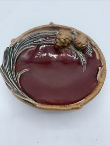 """Vintage Classic Creative Co-Op 5"""" Round Ceramic Bowl With Pine Cones And Needles"""