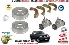 FOR NISSAN NAVARA PICKUP 3.0 DCI 2010-> 2X BRAKE DRUMS + SHOES + WHEEL CYLINDERS