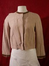 Carole Little Petite sz PM tan jacket linen beaded long-sleeve lightweight lined