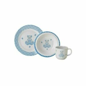 Gingham Bear 3 Pc. Dinner Set by Reed & Barton Complete Children's Boxed Set New