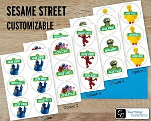 Sesame Street Custom Happy Birthday Stickers Labels - Size & Design Options