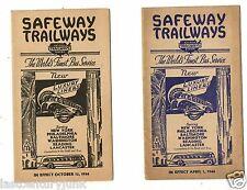 2 Safeway Trailways Bus Line 1944 Timetable