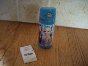 New Disney Frozen 2 Thermos Blue Elsa Anna Olaf w/ Straw 12 oz Blue