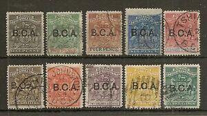 NYASALAND 1891-95 BCA OVPT SET OF (10) VALS TO 10/- USED CAT £575