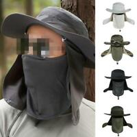 Wide Brim Boonie Hat Quick Drying Outdoor Fishing Sun Mask Cap Bucket Hat Cap Q