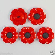 5 X Botones grandes de amapola rojo/negro 38mm caña en parte posterior