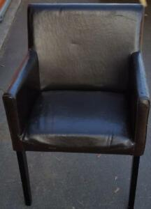 Little Small Size Faux Leather Accent Arm Chair - NEEDS TLC - GREAT SMALL CHAIR