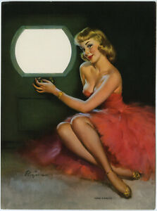 1950s Gil Elvgren Brown & Bigelow Vintage Pin-Up Print Early TV Unusual Rare One