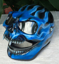 Motorcycle Helmet Skull Monster Blue Fire Ghost Rider Helmet Airbrush Fantasy