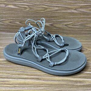 Women's Teva Walking Hiking Sandals Size 8 W Gray Strappy Summer Open Toe