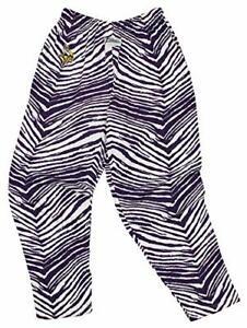 Zubaz NFL Men's Minnesota Vikings Single Line Zebra Print Team Logo Pants