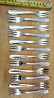 12 VTG TO ANTIQUE GERMAN HIGH QUALITY 90 SILVERPLATE BADER PASTRY EATING FORKS