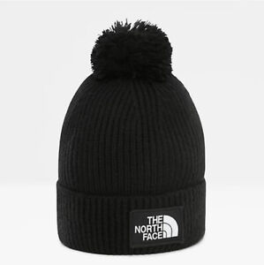 The North Face TNF Box Logo Pom Beanie Hat Black Unisex One Size New With Tags