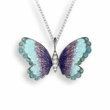 Nicole Barr Vitreous Enamel Sterling Silver Blue Purple Butterfly Necklace