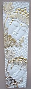 Carved and Painted White & Gold Buddha Wall Plaque Unusual Large Buddha Wall Art