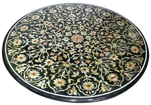 Black Marble Dining Table Mother Of Pearl Floral Inlay Arts Handmade Decors B334