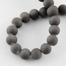 133 BULK Beads Round Glass Beads Rubberized Glass Grey Gray 6mm Beads
